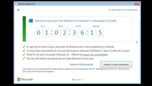 Installer Windows 10 gratuitement, c'est maintenant ou jamais