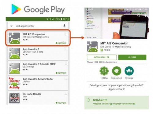 Appli_AppInventorCompanion à télécharger sur le Google Play Store