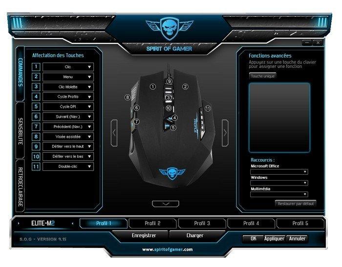 ELITE-M 60 Spirit of gamer réglage
