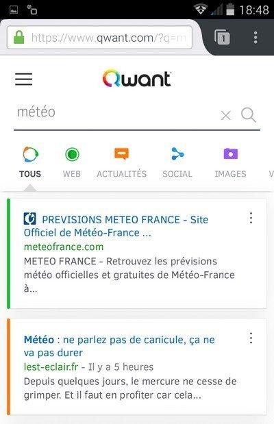 Qwant sur Firefox Mobile