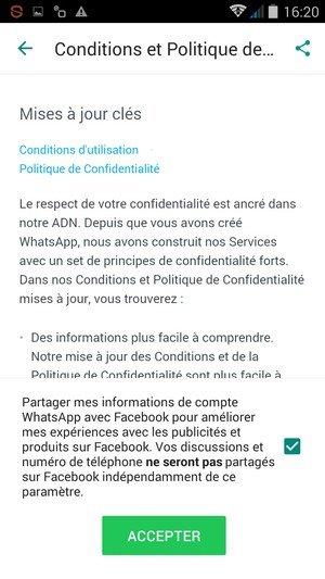 WhatsApp changement CGU