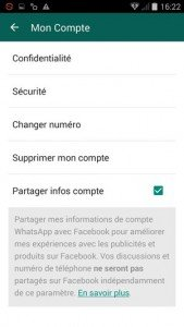 WhatsApp réglages Facebook