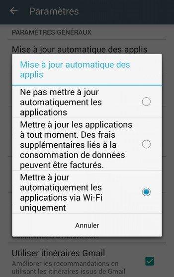 Réglage Android - mise à jour via Wi-Fi