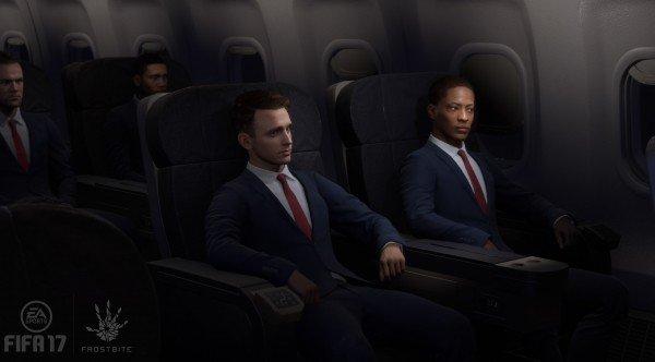 Mode L'Aventure dans FIFA 17 - scène dans l'avion
