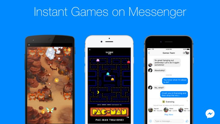 17 jeux dans Facebook Messenger ! Pac-Man, Space Invaders…