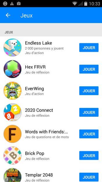 Liste des jeux dans Facebook Messenger