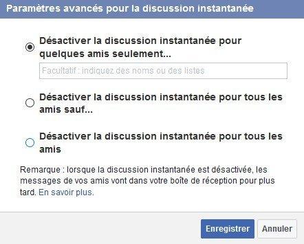 Paramètres avancés - messages - Facebook