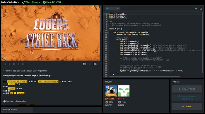 CodinGame Coders Strike Back