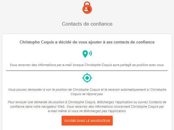 Contacts de confiance - confirmation mail
