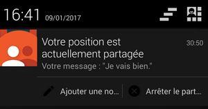 Contacts de confiance, notification