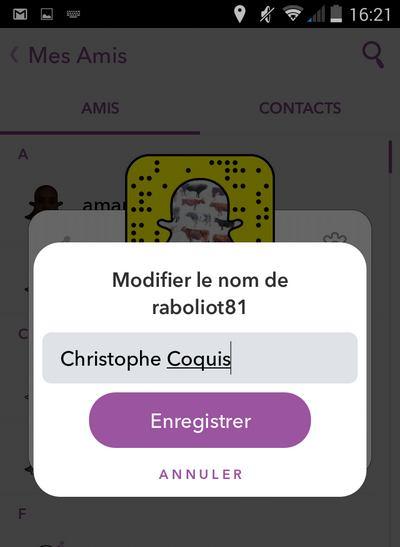 Modifier le nom d'un contact sur Snapchat