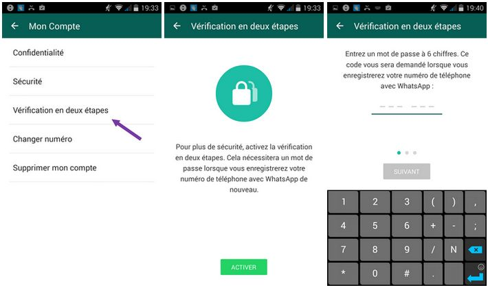 WhatsApp double authentification