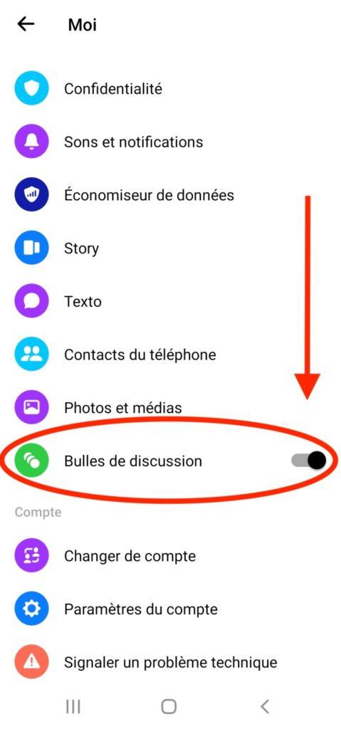 Désactiver bulles messenger
