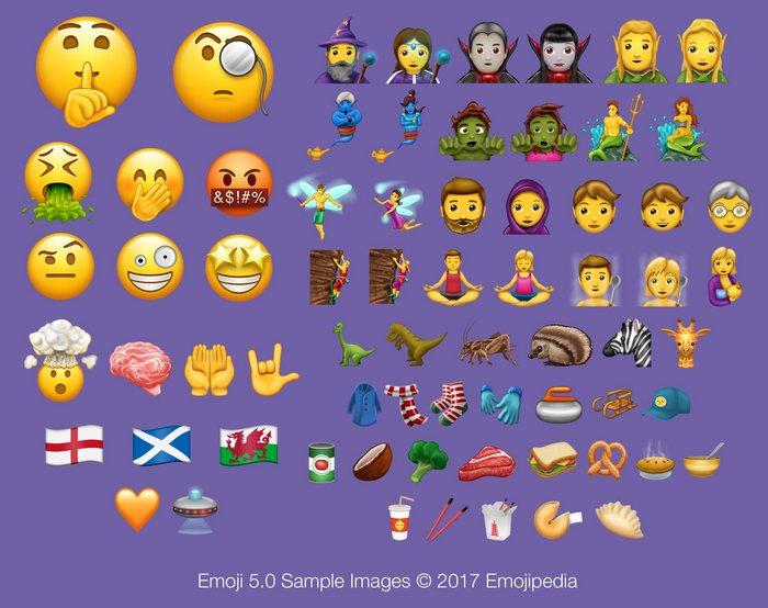 Emojis nouveaux (source Emojipedia)