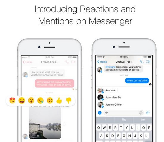 facebook messenger réaction