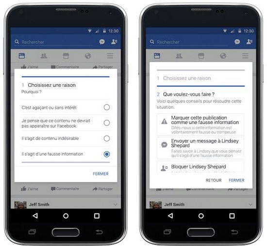 Comment signaler uen fausse information sur Facebook