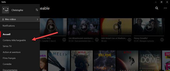 netflix windows 10 contenus téléchargeables