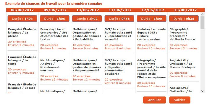 planning exemple