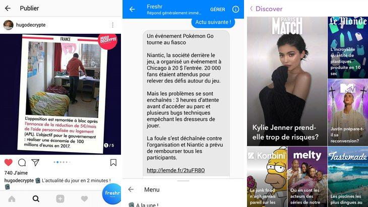 Suivre l'actualité sur Messenger, Instagram et Snapchat