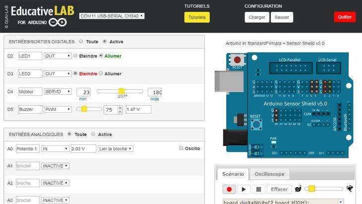 Utiliser Arduino sans savoir coder avec l'appli Educative Lab