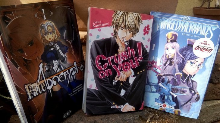 4 nouvelles séries manga : Winged Mermaids, Crush on you, Fate/Apocrypha, Love Baka