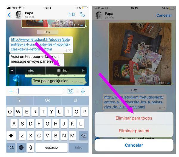 effacer messages whatsapp