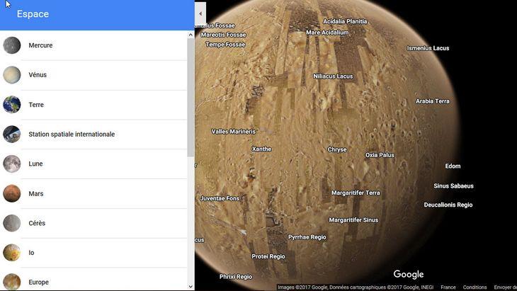 Avec Google Maps, à toi l'exploration des planètes du système solaire !