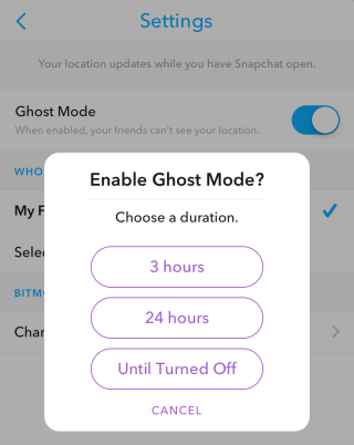 snapchat temporary ghost mode