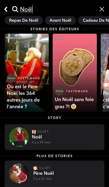 Barre de recherche Snapchat