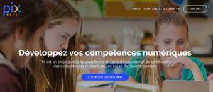 Page d'accueil de la plateforme Pix