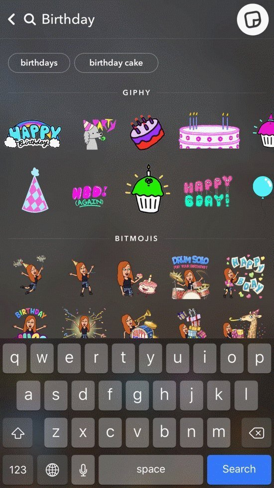 giphy dans snapchat menu autocollants