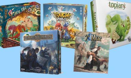5 nouveaux jeux de société #1 : Topiary, Touché Poulet, Fairy Tile…