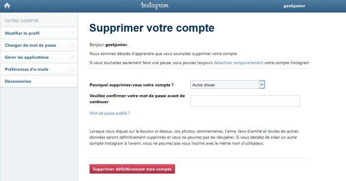 supprimer compte instagram