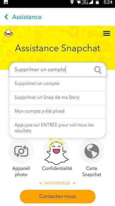 supprimer compte snapchat depuis l'application