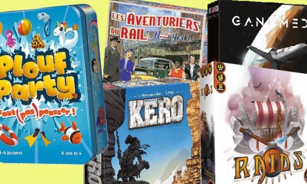 5 nouveaux jeux de société #5 : Kero, Ganymede, Raids, Plouf Party…