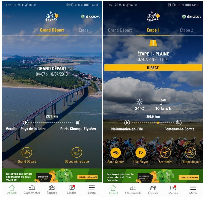 tour de france application officielle