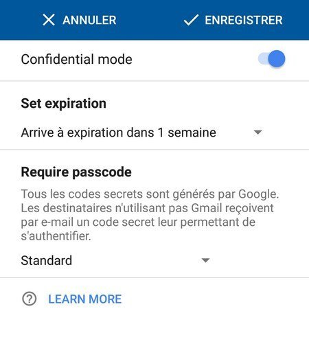 mode confidentiel gmail