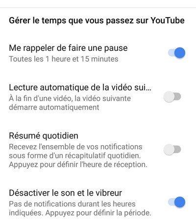 YouTube gérer le temps passé