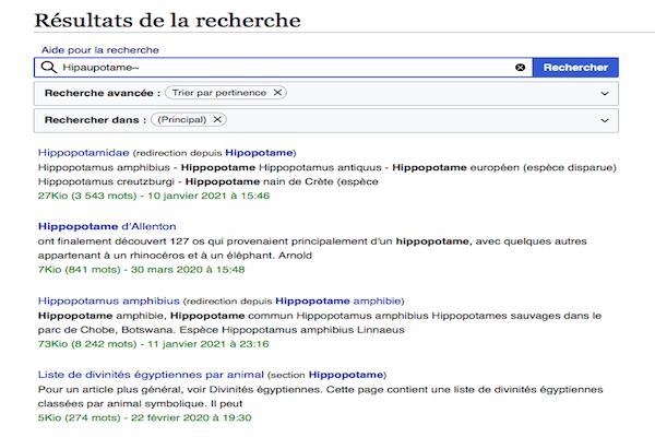 Résultat de recherche avancé Wikipédia