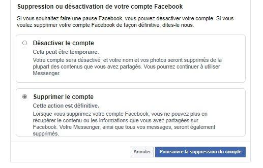 Suppression compte Facebook