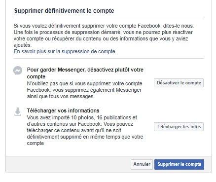 Suppression Facebook dernière étape