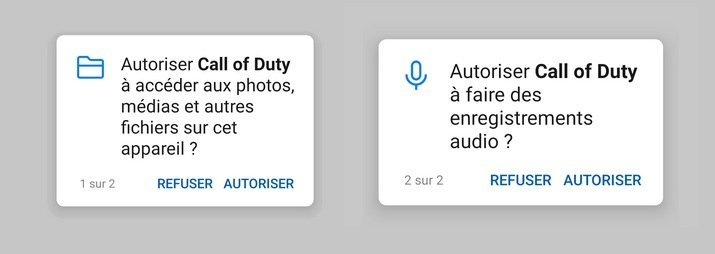 Autorisations jeu Call of Duty mobile