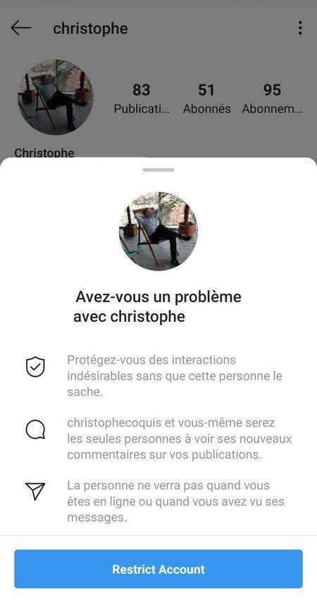 instagram fonctionnalite restreintre