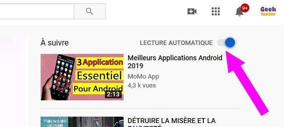 Désactiver la lecture automatique sur YouTube