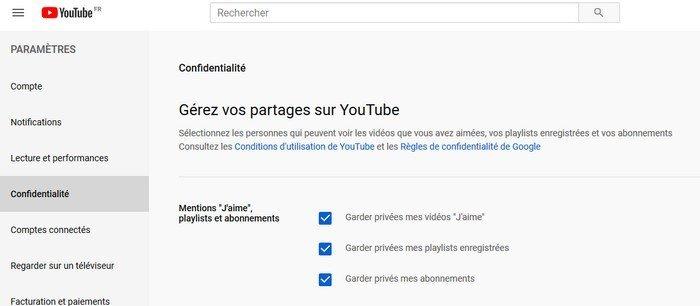 Garder ses partages privés sur YouTube