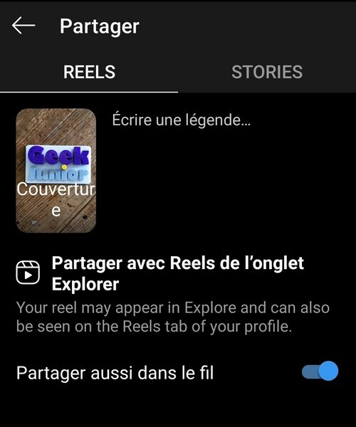 Instagram Reels partager
