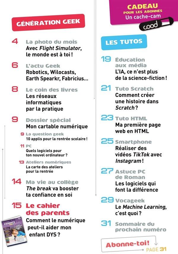 Sommaire Geek Junior n°4