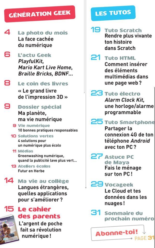 Sommaire Geek Junior n°5