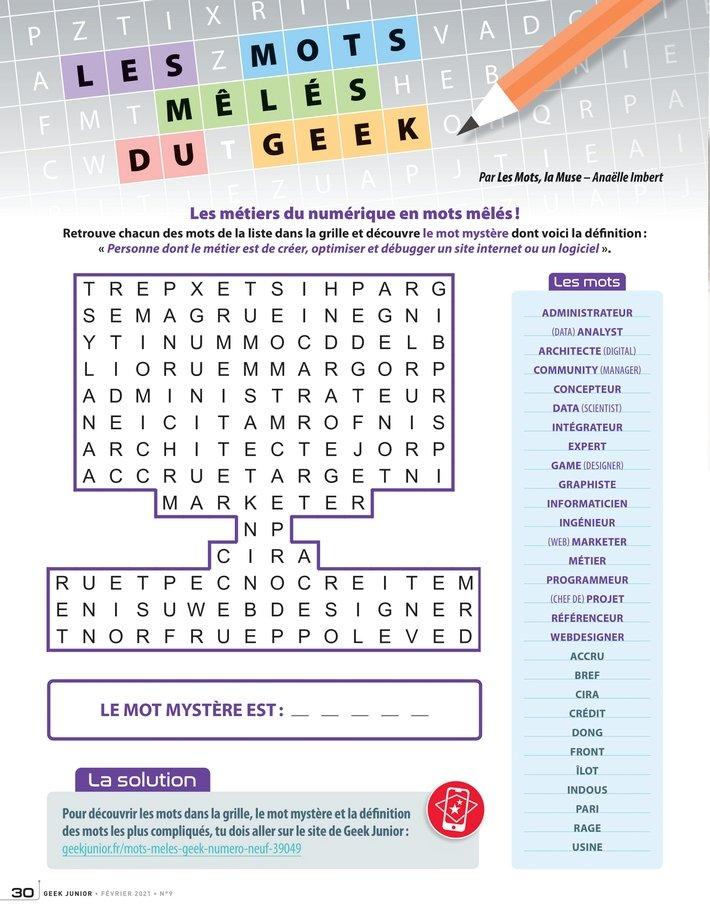 Geek Junior Magazine n°9 - Mots mélés