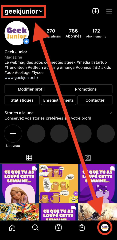 Switcher de compte Instagram